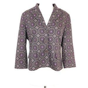 LOFT Lightweight Blazer Jacket Brown Purple